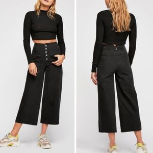 Free People Wide Crop Jeans Button Fly Black Pants